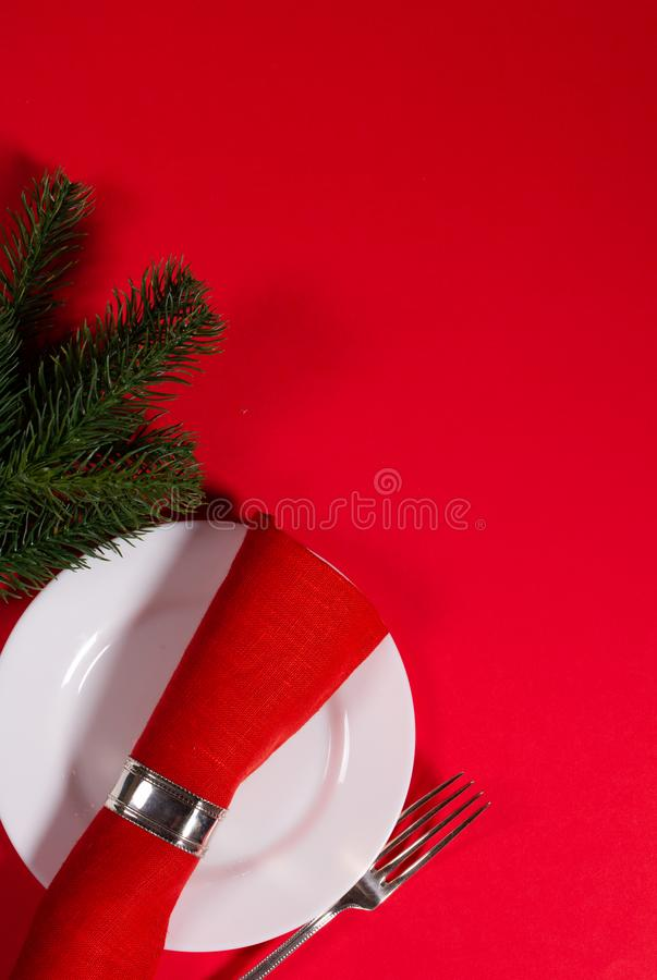 Holiday menu concept on a red background royalty free stock photography