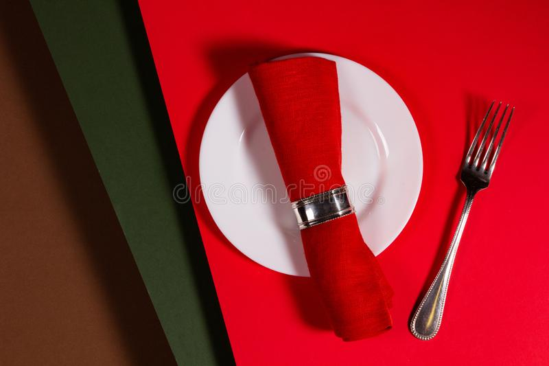 Holiday menu concept on a red background stock photography