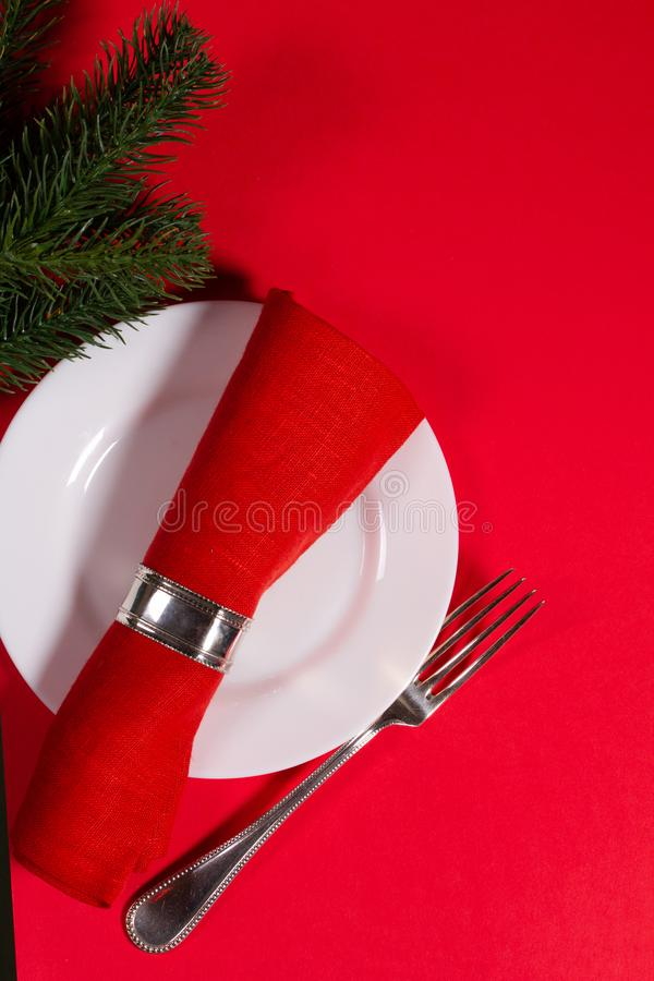 Holiday menu concept on a red background royalty free stock photo