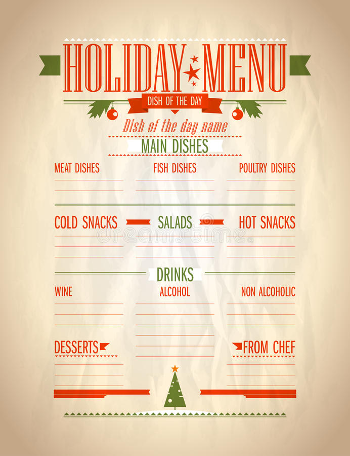 Holiday Menu List Stock Vector Illustration Of Dishes
