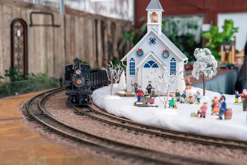 Holiday model train scene royalty free stock images