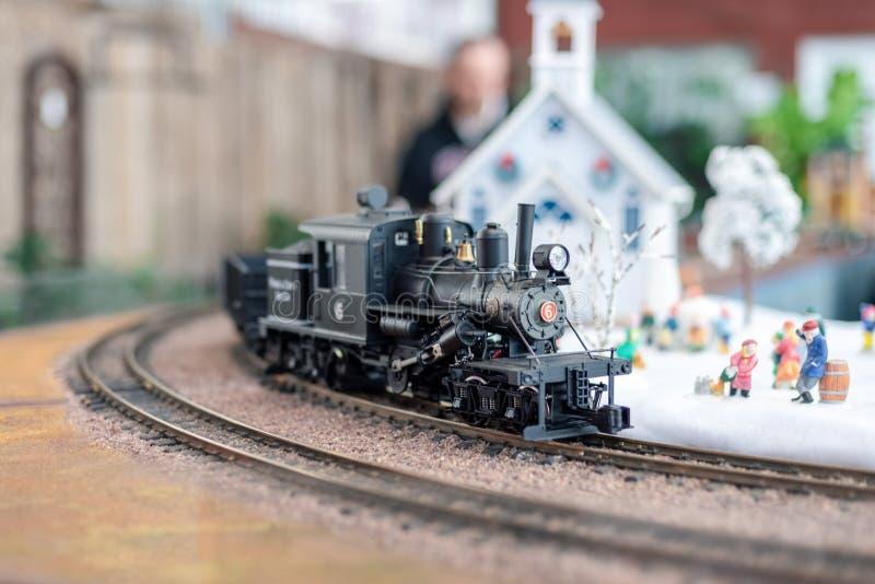 Holiday model train scene stock photography