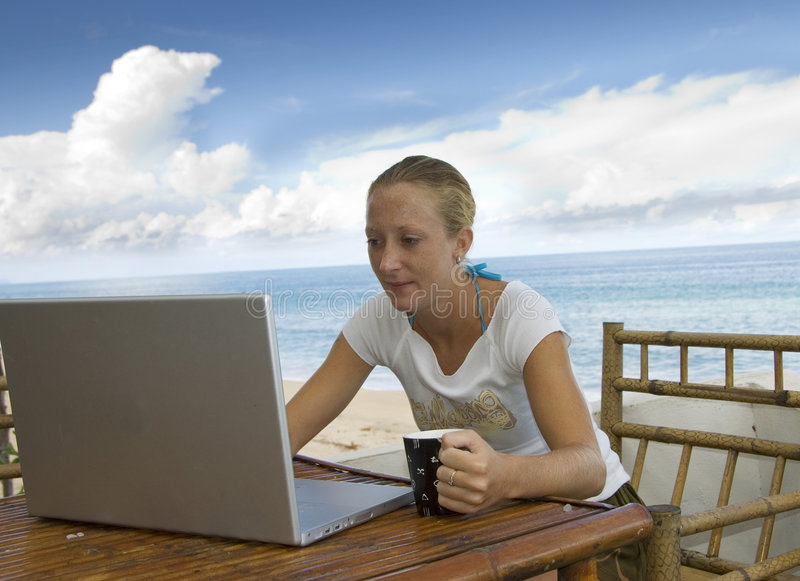 Download Holiday with notebook stock photo. Image of computer, laptop - 2849550