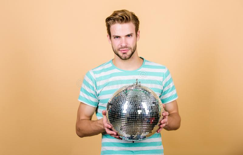 Holiday objects. party time. birthday celebration. christmas or new year holiday. man dancing on disco. having fun. lets stock photo