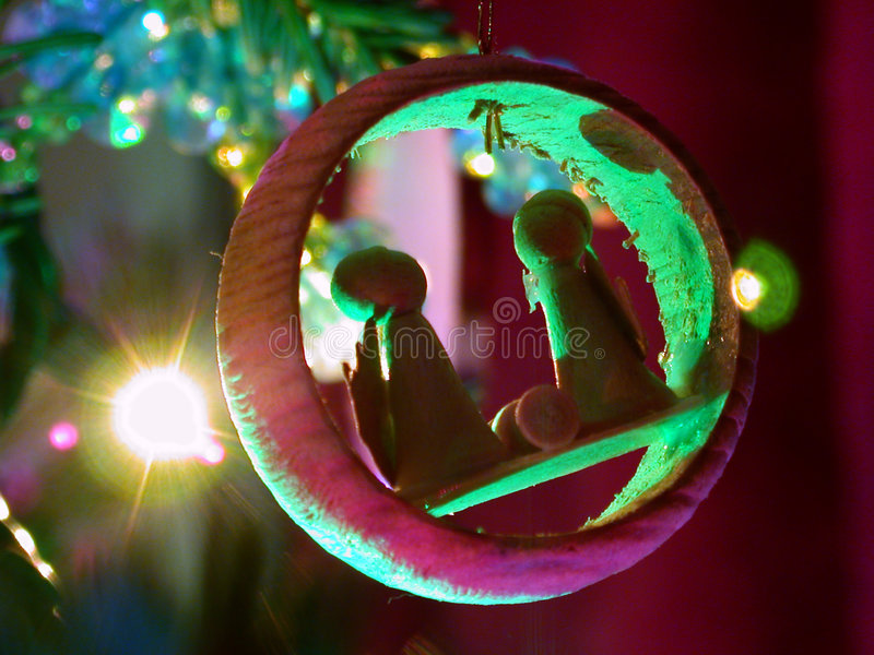 Holiday Ornament and Lights Nativity royalty free stock photography