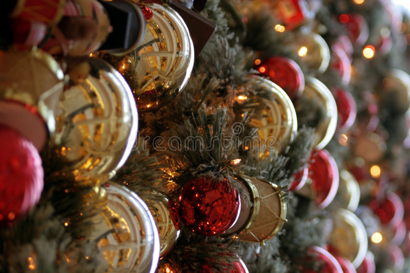 Holiday Ornaments on a Christmas Tree stock photography