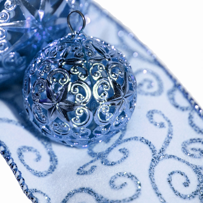 Holiday ornaments and ribbon royalty free stock image