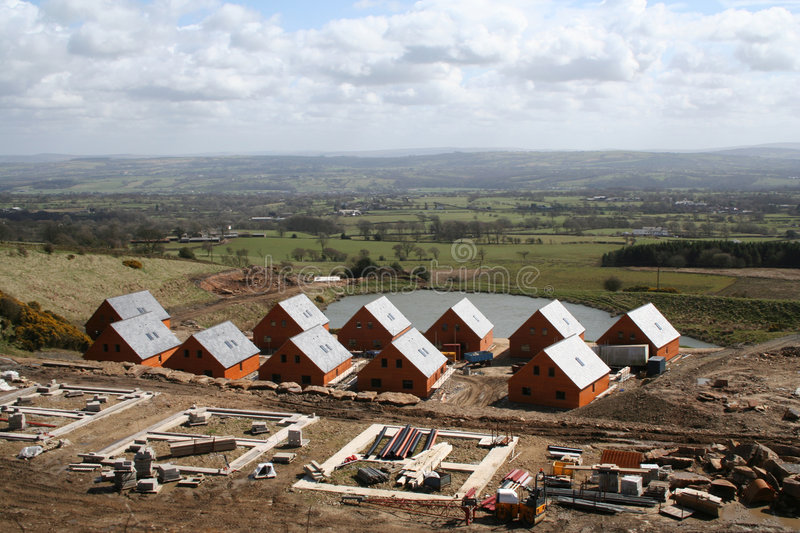 Holiday Park Construction. Building wooden chalets ona holiday park in England stock photography