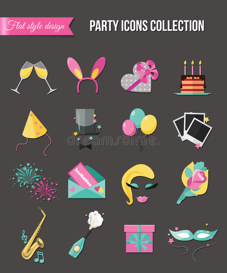 Holiday and party icons set with colorful balloons, cake, invitation, gift box. Flat style design. Vector illustration. vector illustration