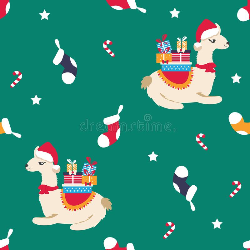 Holiday pattern with cute lamas and elements royalty free illustration
