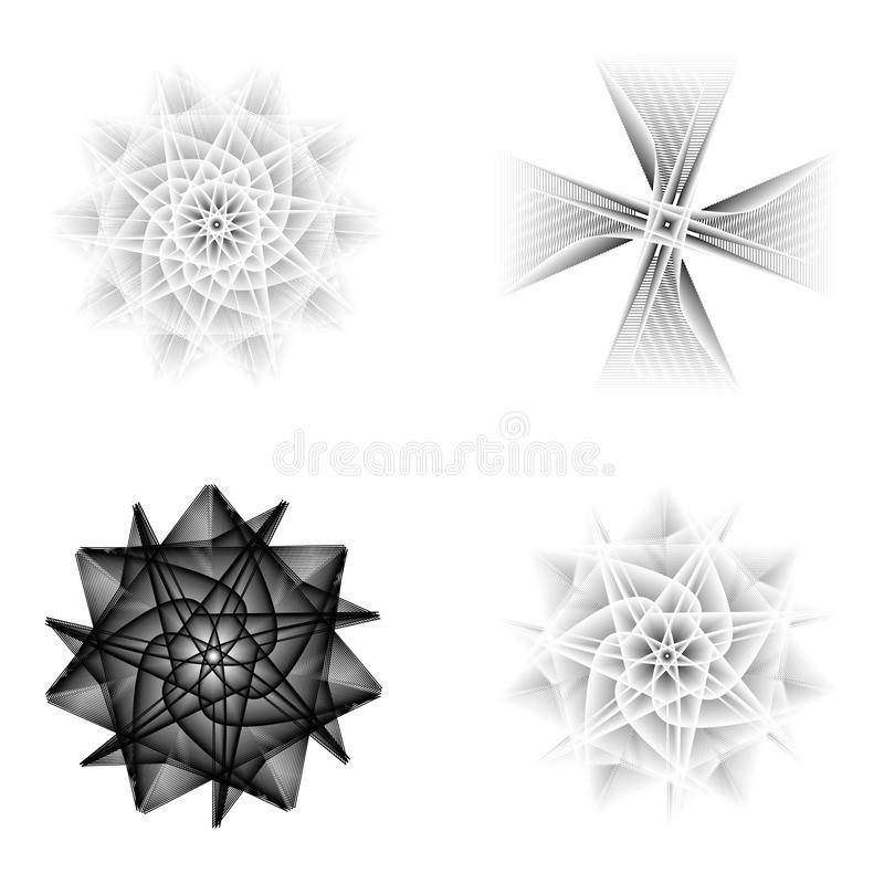 Holiday patterns of stars and flowers for gifts ground stock image