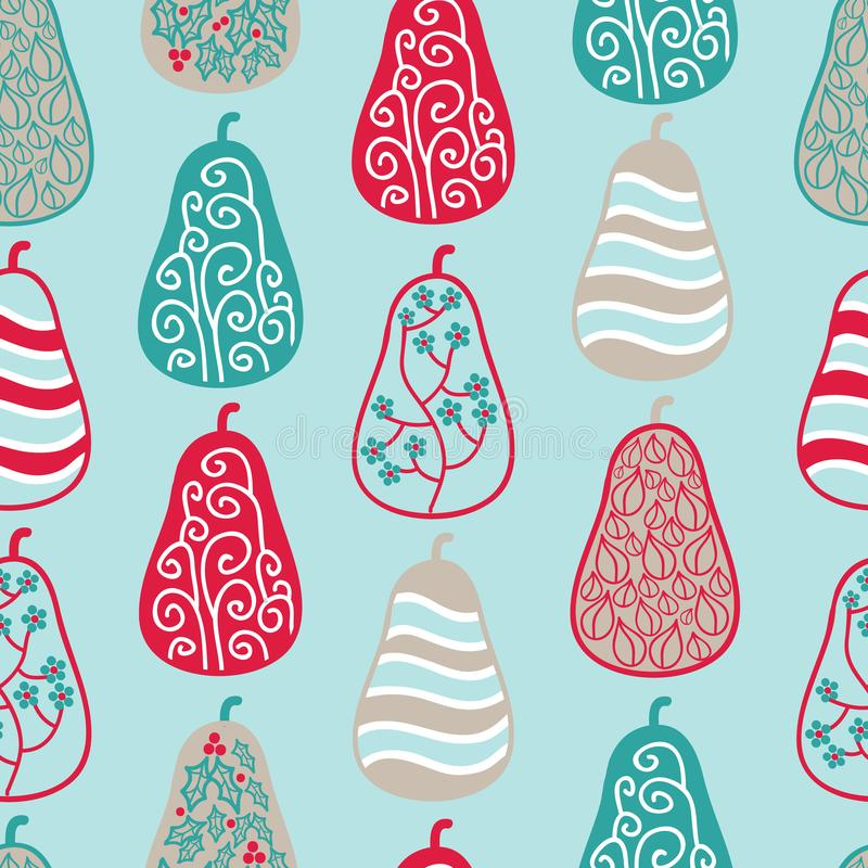 Holiday Pears vector seamless pattern stock illustration