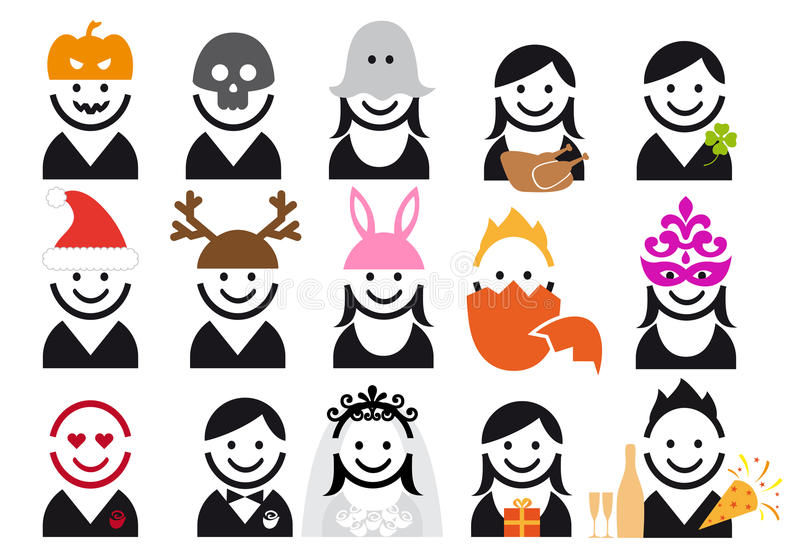 Download Holiday People Icon Set, Vector Stock Vector - Image: 22960828
