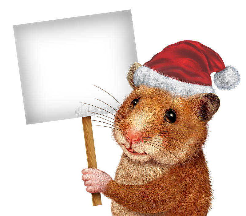 Holiday Pet Sign. Holiday pet holding a blank white sign as an advertising and marketing concept with a cute mouse like mammal with a smile communicating an stock illustration