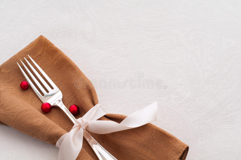 Download Holiday Place Setting On White Tablecloth Stock Photo - Image: 24498518