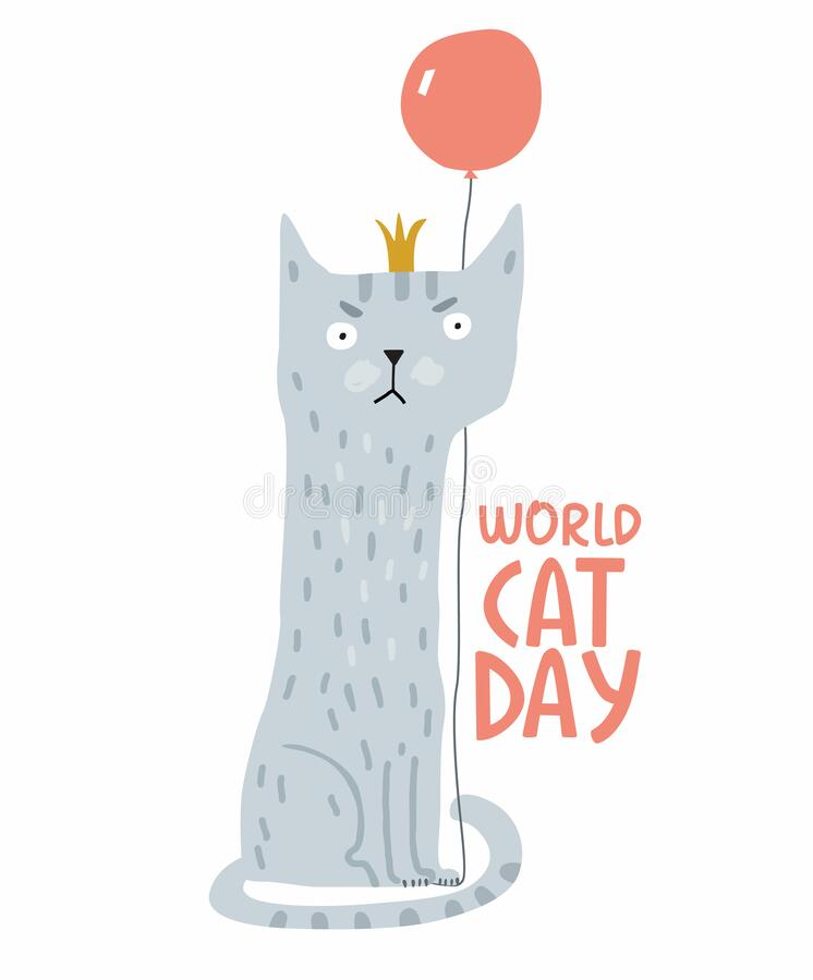 Holiday Poster World Cat Day. Gray cat in a crown and with a balloon stock photo