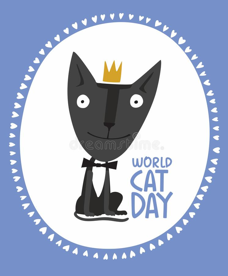Holiday Poster World Cat Day. Little black kitten in a crown stock photos