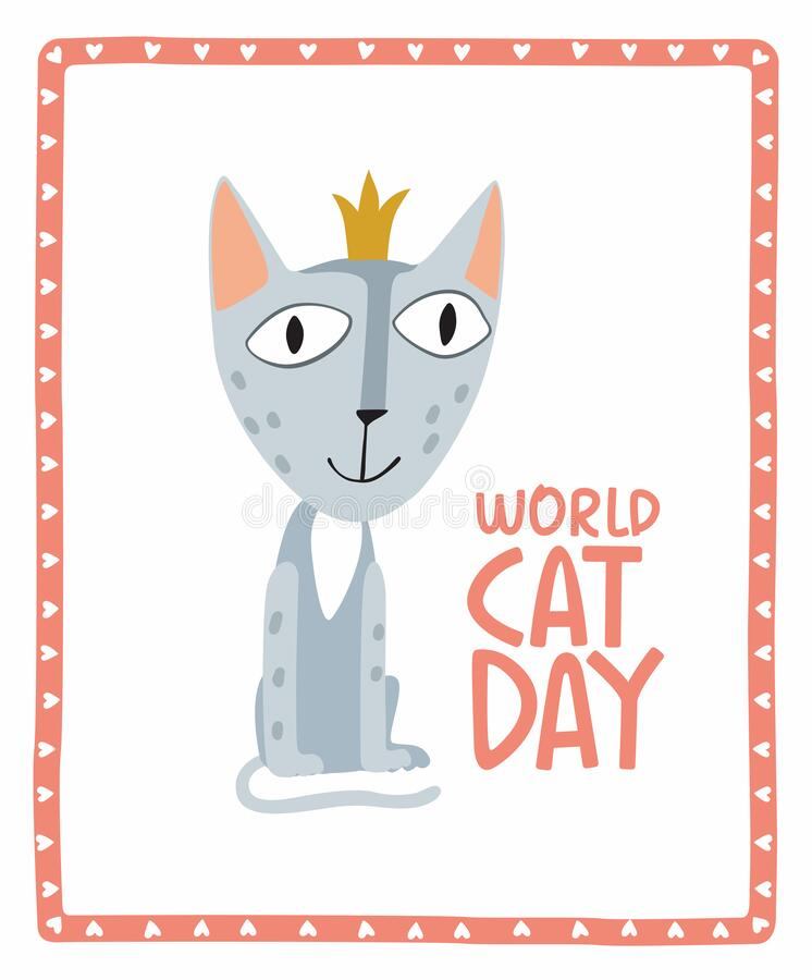Holiday Poster World Cat Day. Little cute gray kitten in a crown stock image