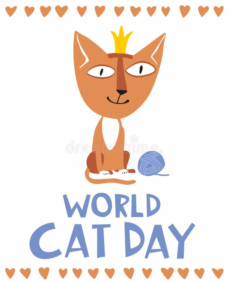 Holiday Poster World Cat Day. Little cute kitten in a crown stock image