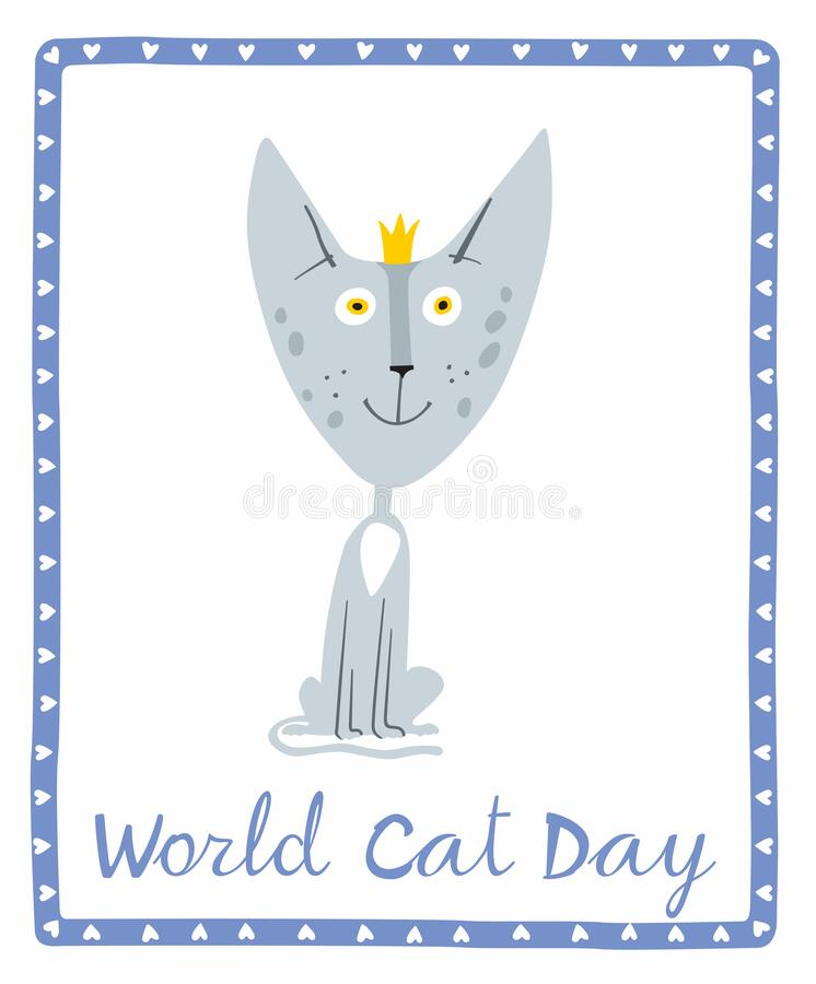 Holiday Poster World Cat Day. Little gray kitten in a crown royalty free stock photography
