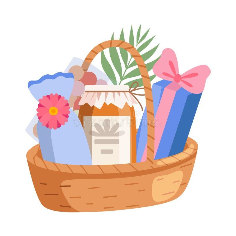Holiday Present Basket Full of Gifts, Birthday, Xmas, Wedding, Anniversary Celebration Design Element Vector. Illustration on White Background royalty free illustration