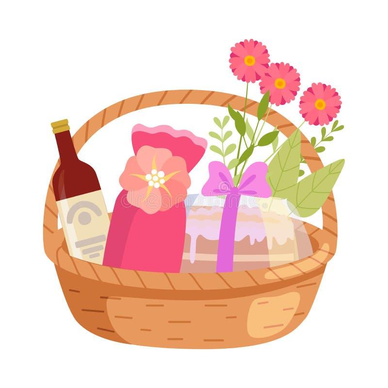 Holiday Present Basket Full of Gifts, Flowers and Alcohol Bottle, Birthday, Xmas, Wedding, Anniversary Celebration. Design Element Vector Illustration on White stock illustration