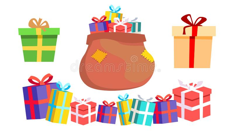 Holiday Present Gift Box Vector. Pile Of Colorful Wrapped Gifts. Packaging. Christmas, New Year Birthday Concept. Cartoon Illustration royalty free illustration