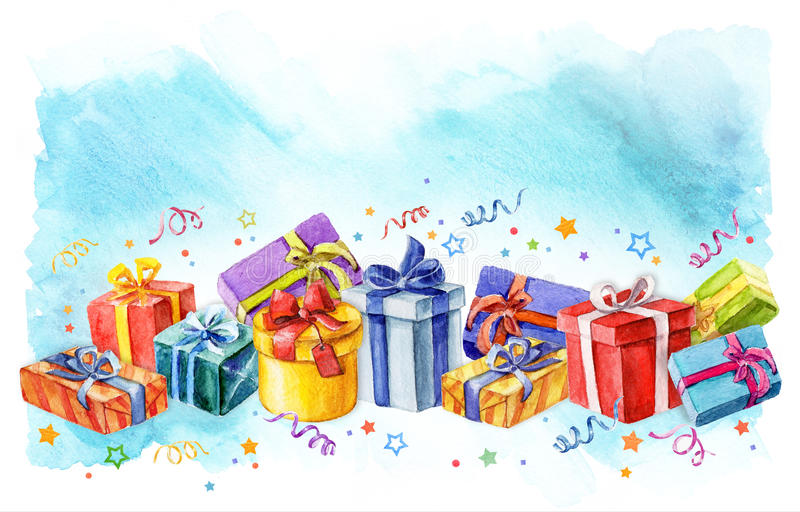Holiday presents gift boxes watercolor illustration. streamers and stars royalty free illustration