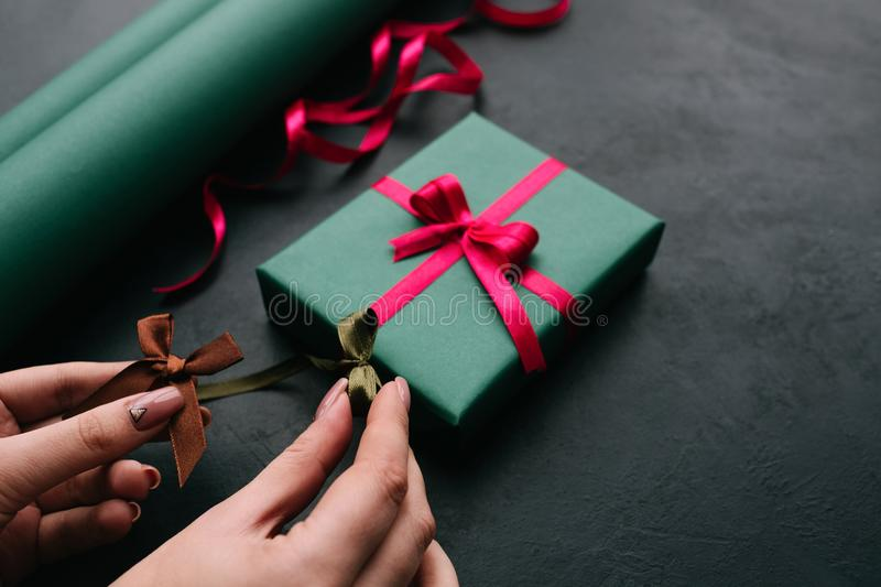 Holiday professional gift handmade wrapping stock photos