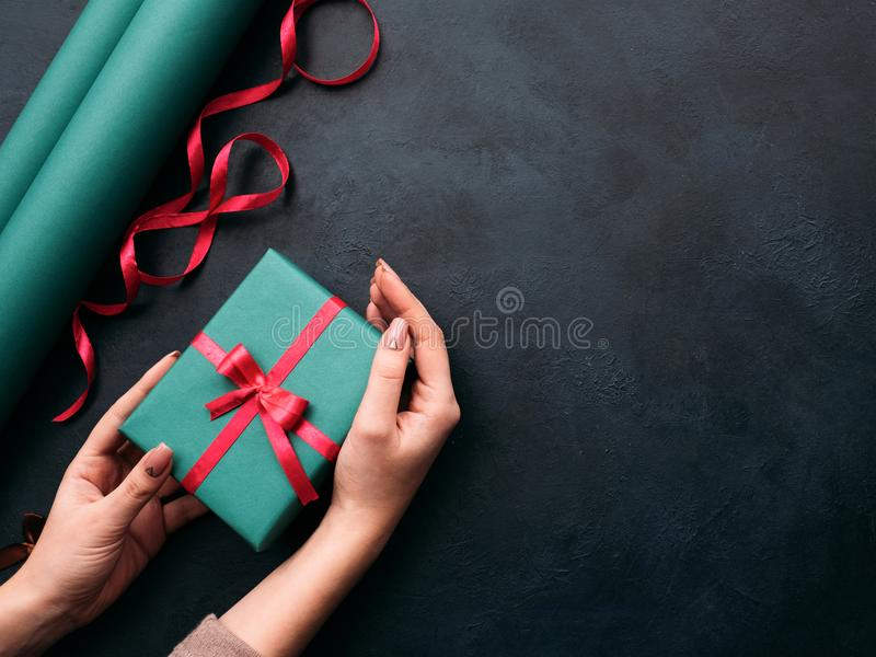 Holiday professional gift handmade wrapping royalty free stock image