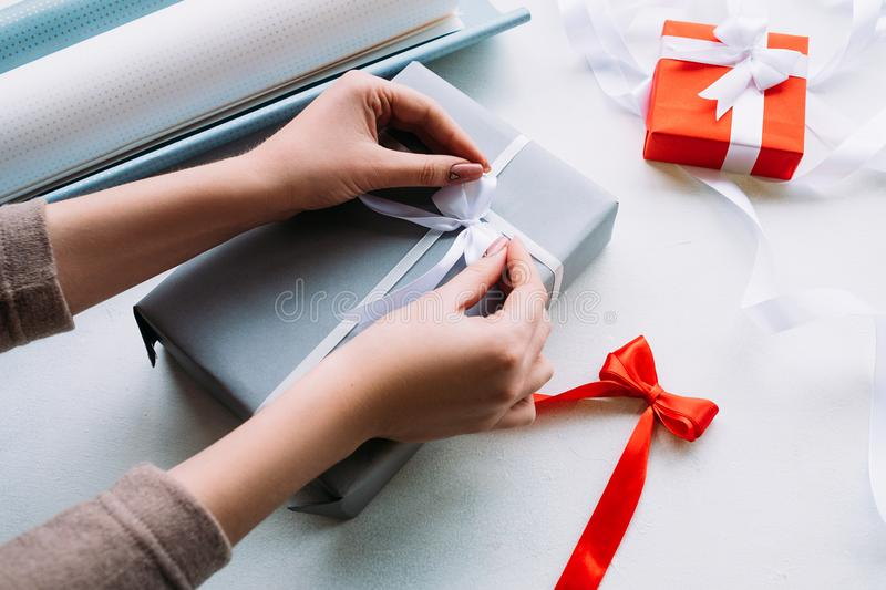Holiday professional gift handmade wrapping royalty free stock photo