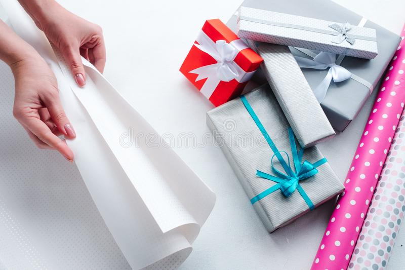 Holiday professional gift handmade wrapping stock photography
