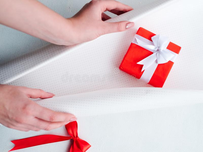Holiday professional gift handmade wrapping stock photo