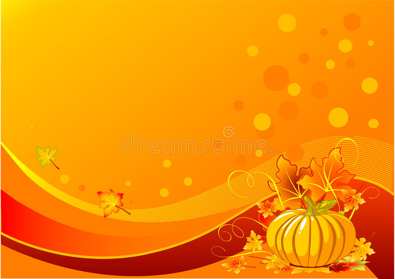 Holiday pumpkin background. Holiday thanksgiving background with pumpkins and leaves