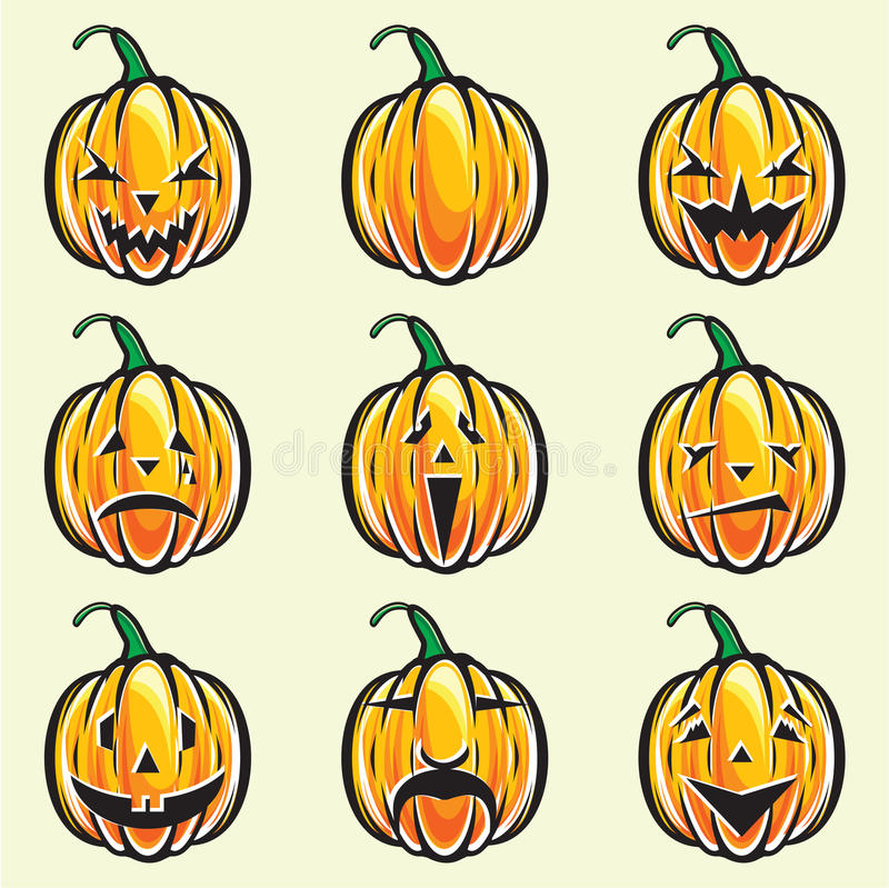 Download Holiday Pumpkin Jack Lantern Collection Stock Vector - Image: 31653702