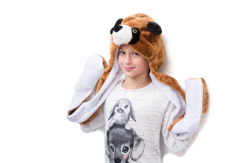 Holiday, Purim and celebration concept. Happy Halloween girl in carnival costume. stock image