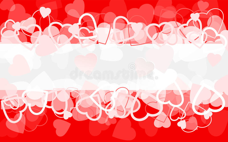 Holiday red background with hearts. Banner. Vector illustration stock illustration