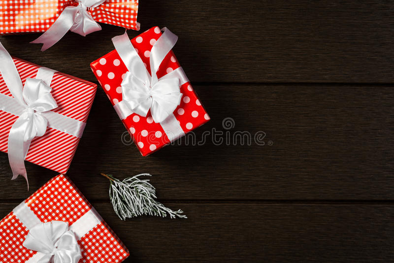 Holiday red christmas gift box background, Top view celebrate bi royalty free stock photos