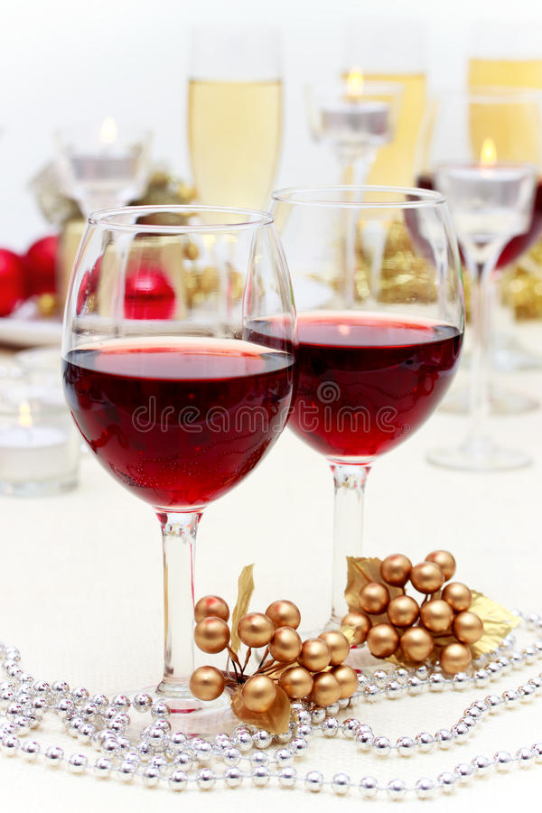 Holiday Red Wine stock photos