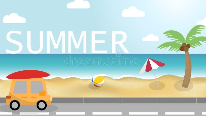 Holiday road beach tropical summer sea royalty free illustration