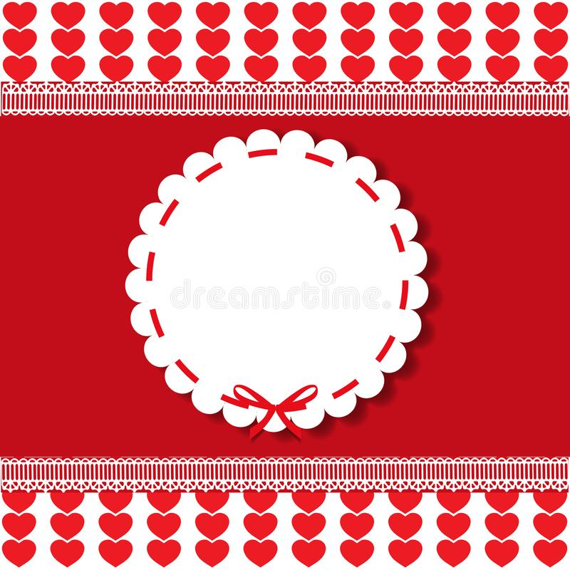 Holiday round vintage template with lacy sticker and ribbon stock illustration