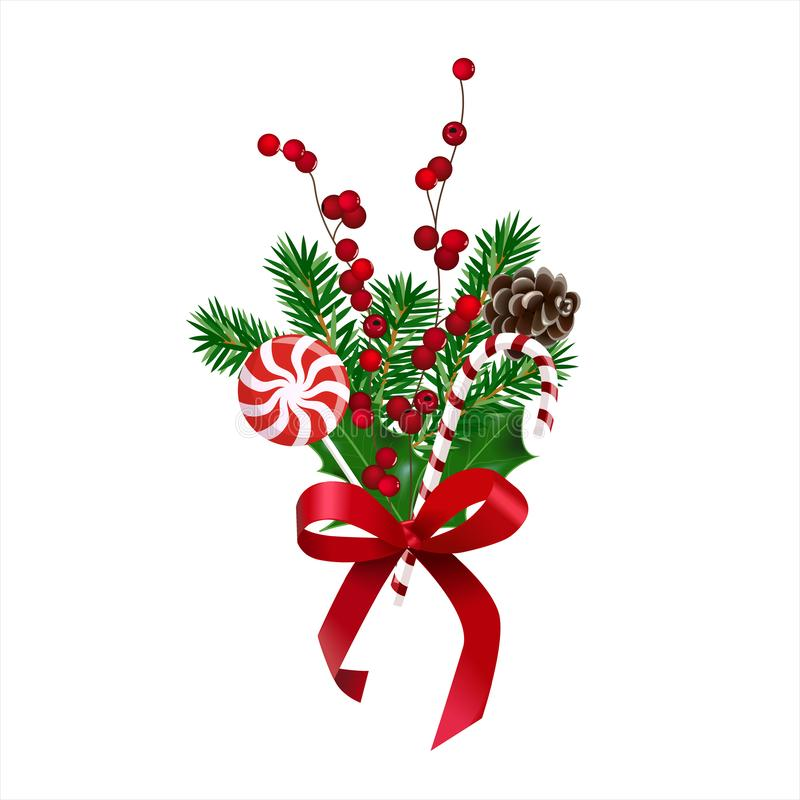 Holiday`s Background with season wishes and Realistic Christmas Tree Branches and holly berry decorated stock illustration