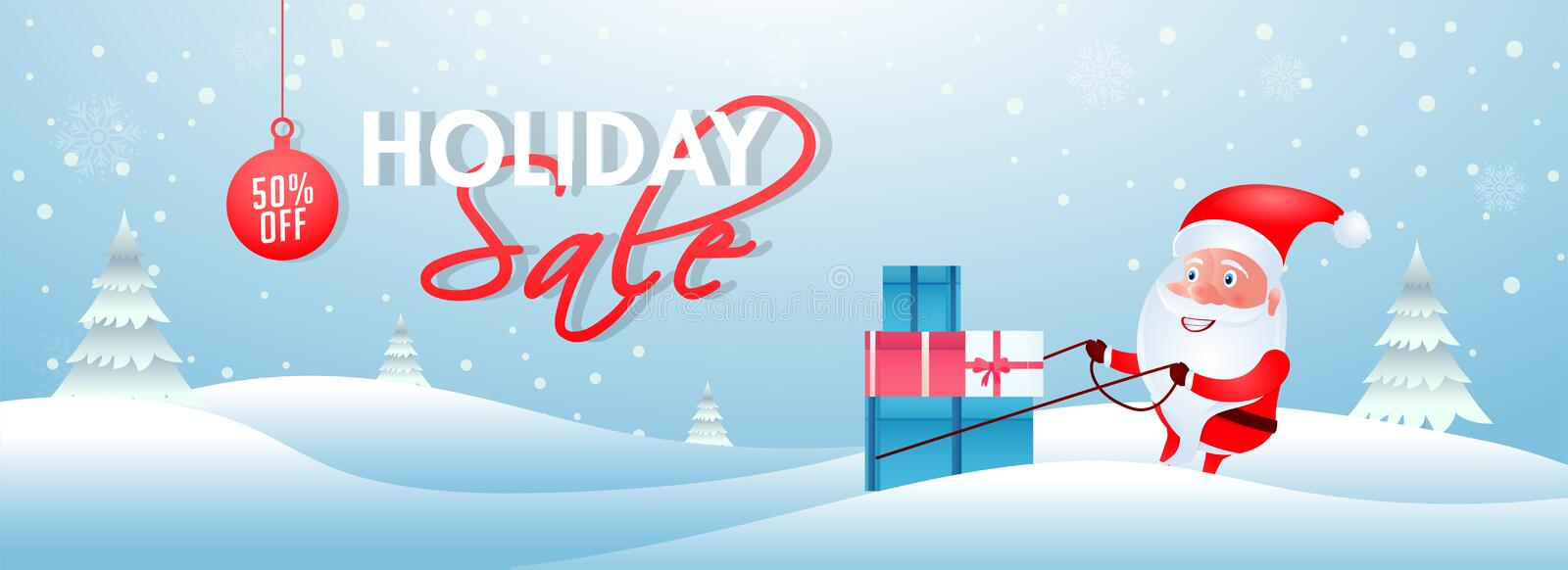 Holiday Sale header or banner design with 50% discount offer and illustration of santa claus dragging gift boxes on snowfall vector illustration