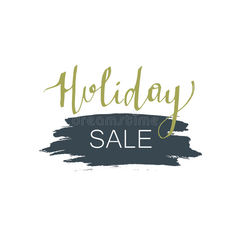 Holiday sale lettering. Christmas calligraphy with spot illustration. royalty free stock photos