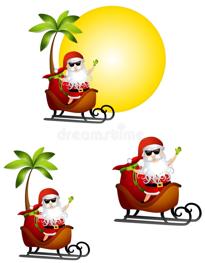 Holiday Santa Claus Travel. An illustration featuring Santa Claus sitting in his sleigh in various layouts with a holiday tropical theme royalty free illustration