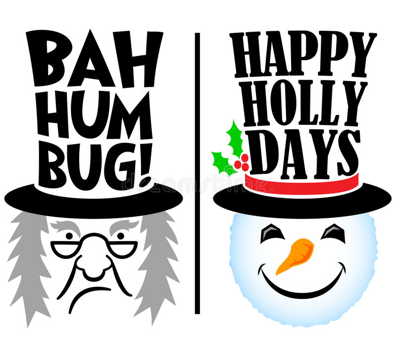 Holiday Scrooge and Snowman/eps. Cartoon Christmas holiday characters, grumpy scrooge and happy snowman