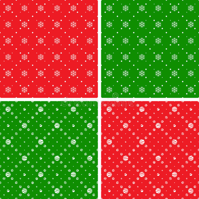 Holiday seamless ornaments. Seamless patterns. Christmas ornaments with snowflake and dotted rhombuses. Holiday backgrounds stock illustration