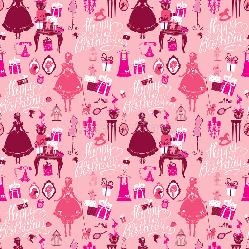 Holiday Seamless pattern for girls. Princess Room - glamour accessories, gift boxes, pictures. Princess - silhouettes on pink royalty free illustration