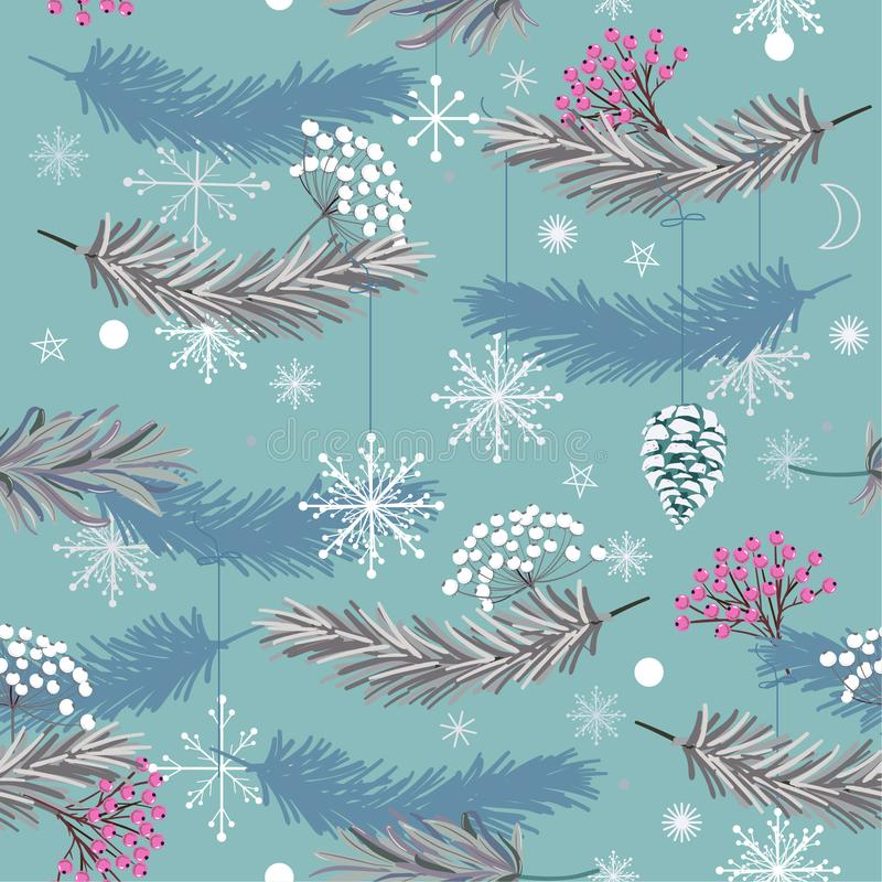 Holiday seamless vector pattern with leaves ,flowers and snow fl vector illustration