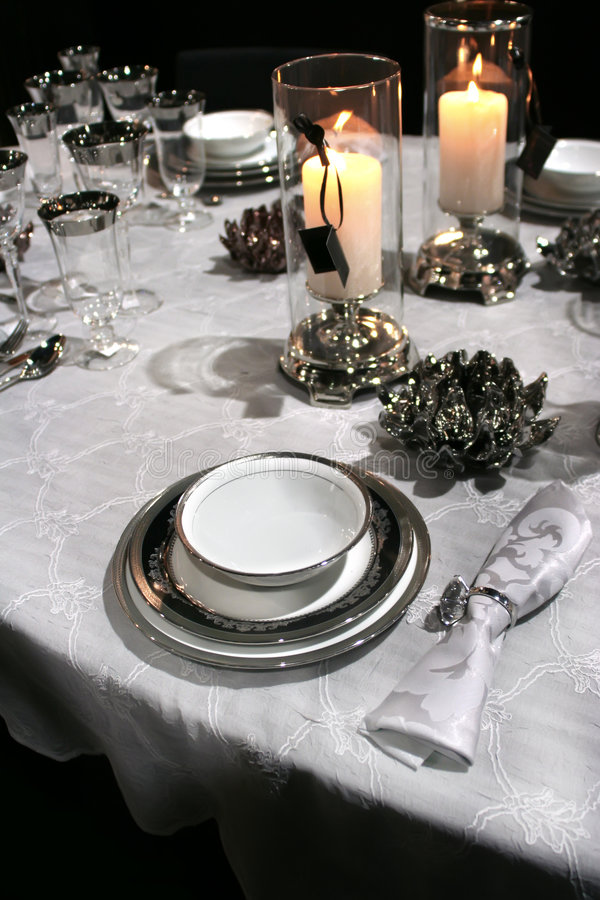 Download Holiday Set In Classic Style And Candles Stock Images - Image: 4540624